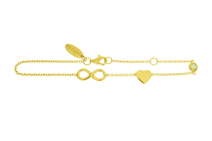 Leposa Bracelet Infinity with Heart yellow plated
